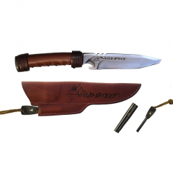 Wildsteer Archery Knive Brown Brushed Stainless Steel